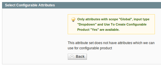 Select Configurable Attributes form - None Available!