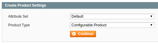 Create Product Settings form