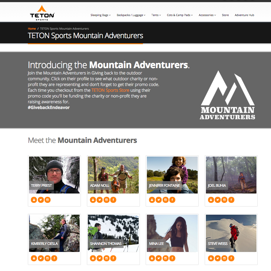 Teton Sports Brand Ambassador Program