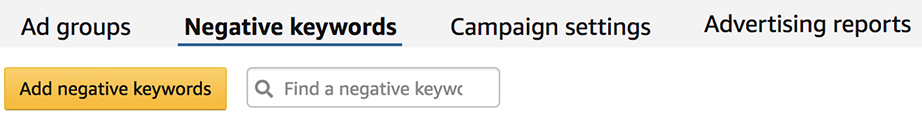 Amazon negative keywords