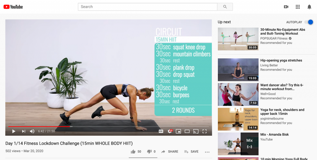 Fitness Challenge - Youtube - Social Media during COVID19